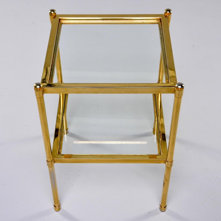 Italian Midcentury Two-Tier Brass and Glass Side Table For Sale 2