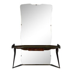 Italian Midcentury Vanity Console Table Cesare Lacca Style with Large Mirror