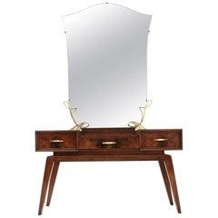 Italian Midcentury Vanity Desk with Mirror, 1950s