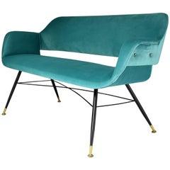 Italian Midcentury Velvet and Steel Sofa, 1950s