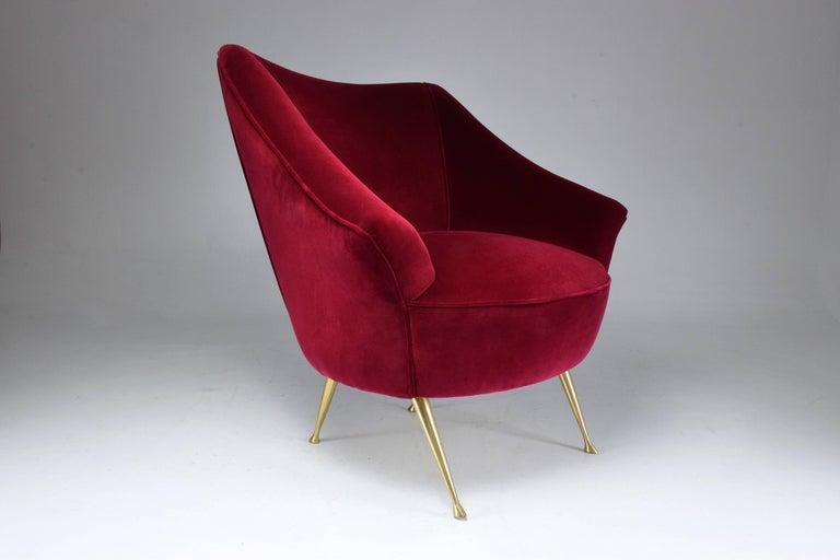 Mid-Century Modern Italian Mid-Century Velvet Armchair, 1950s For Sale