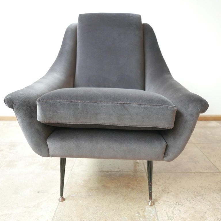 Mid-Century Modern Italian Midcentury Velvet Armchairs For Sale