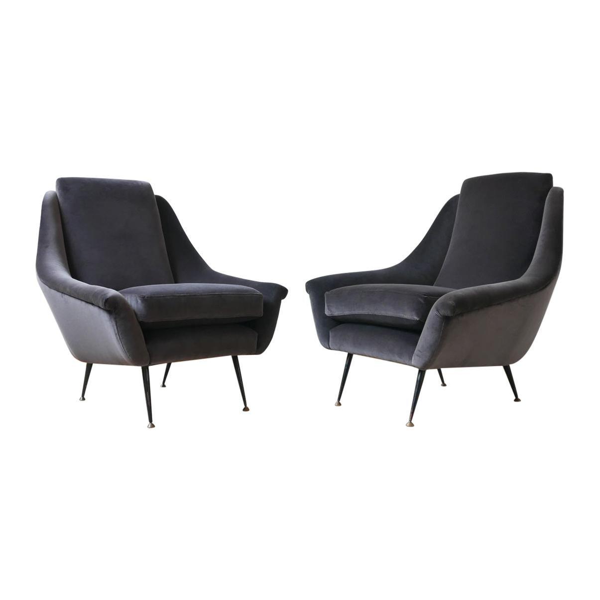 Italian Midcentury Velvet Armchairs