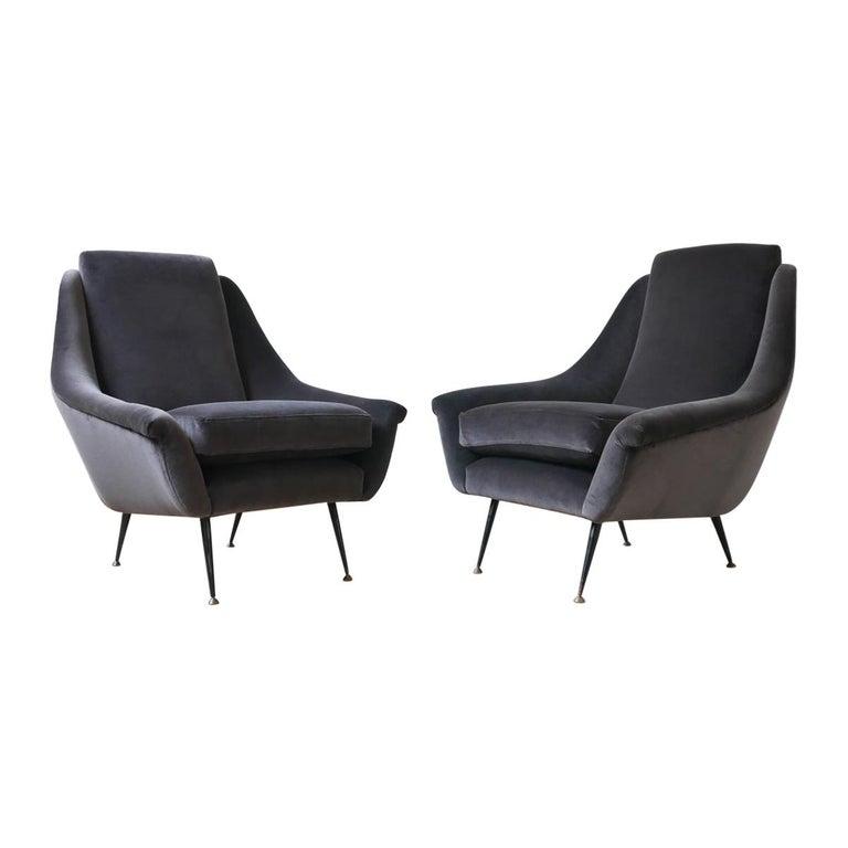 Italian Midcentury Velvet Armchairs For Sale