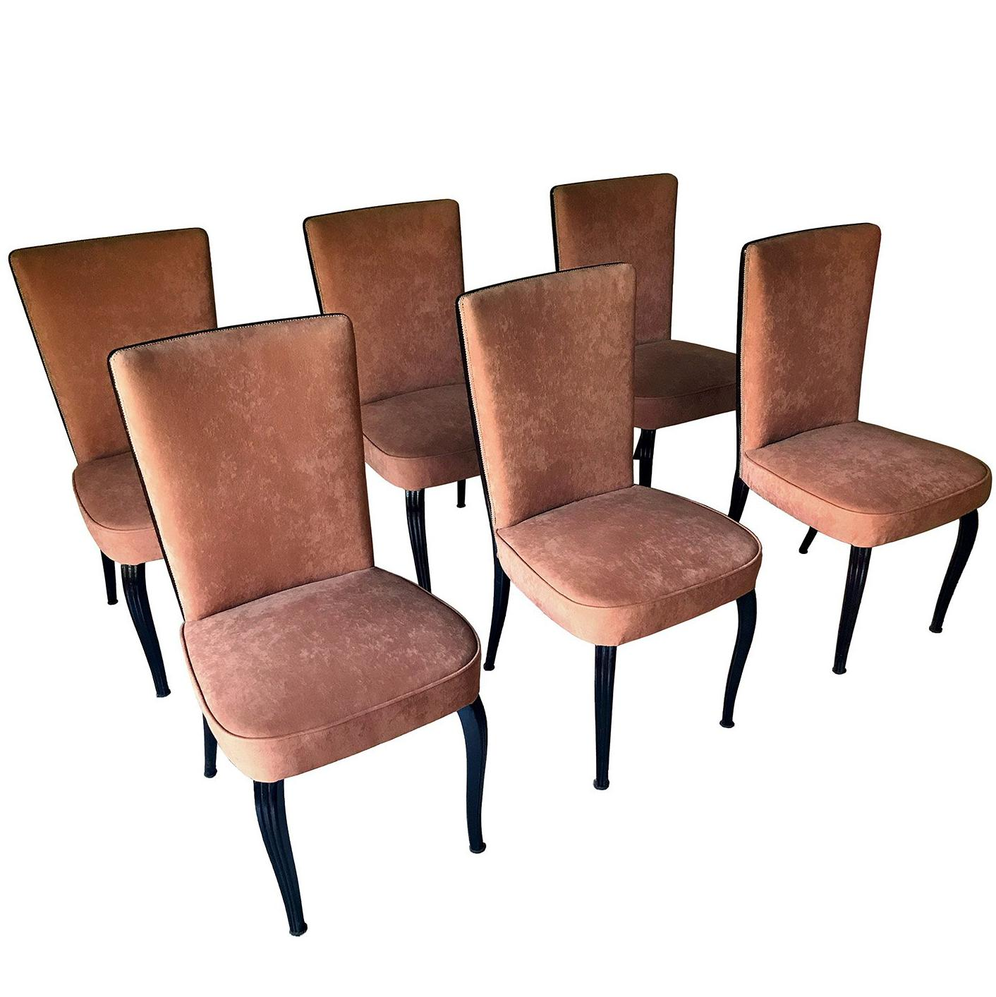 Italian Mid-Century Velvet Dining Chairs by Vittorio Dassi, Set of Six, 1950s