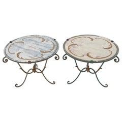Italian Midcentury Verre Églomisé and Wrought Iron Side Tables