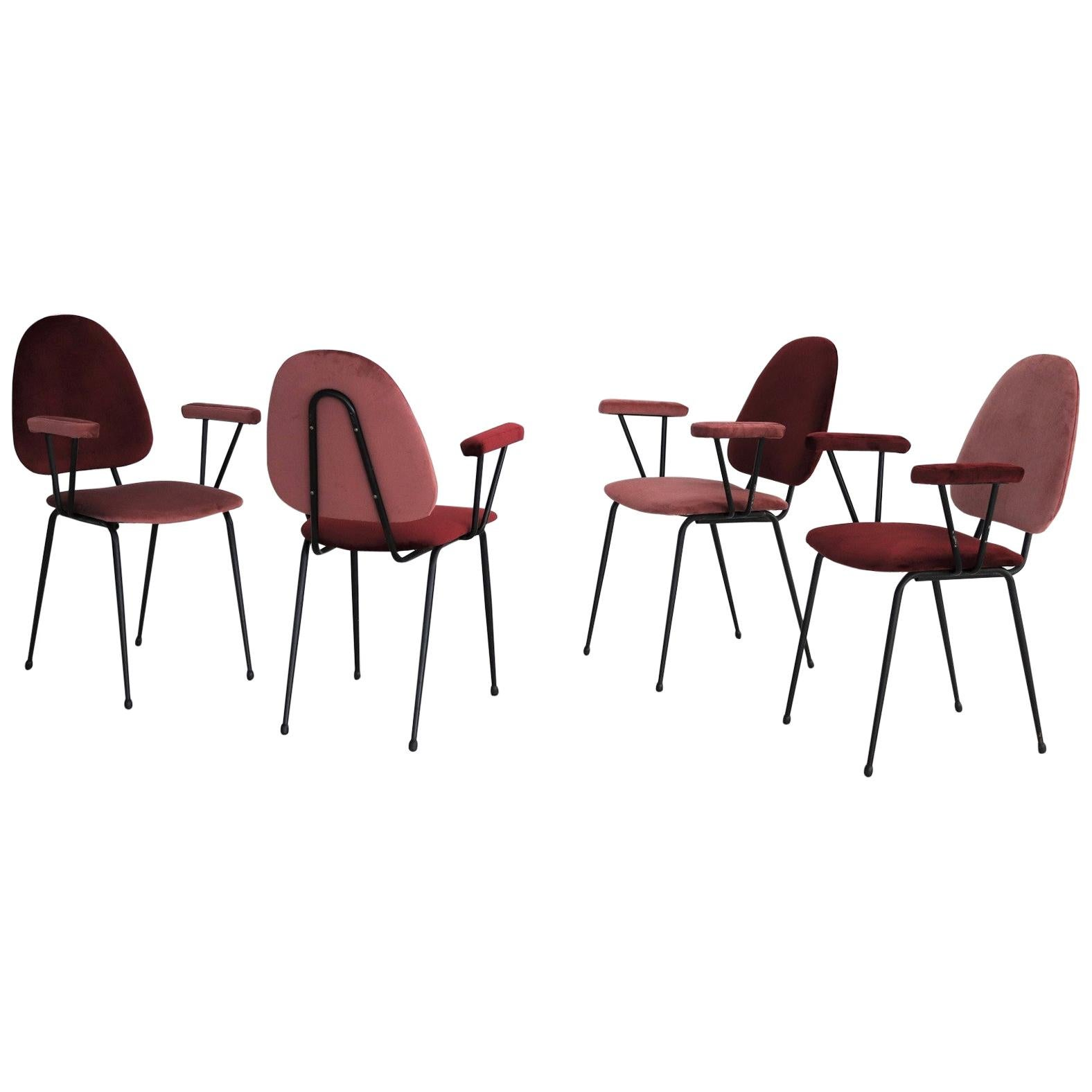 Italian Midcentury Vintage Dining Chairs in Metal and Coral Red Velvet, 1950s