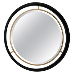 Italian Midcentury Wall Mirror with Cut Glass, Brass and Plywood Frame, 1960s