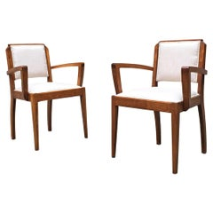 Italian Mid-Century Walnut Armchairs with Armrests and New Padded, 1930s