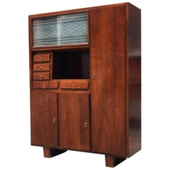 Italian Mid-Century Walnut Cupboard with Compartments and Drawers, 1940s