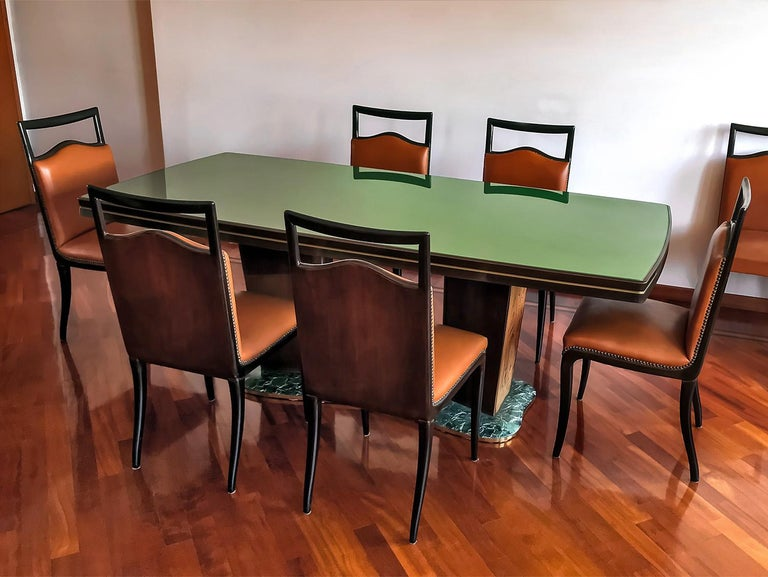 Italian Mid-Century Walnut Dining Table Art Deco style by Vittorio Dassi, 1950s 5