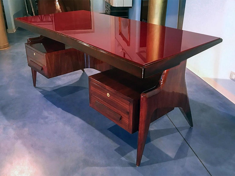 Mid-Century Modern Italian Midcentury Walnut Executive Desk by Vittorio Dassi, 1950s For Sale