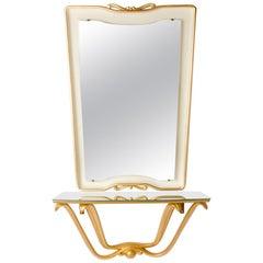 Italian Mid-Century White and Gold Painted Mirror and Console, Osvaldo Borsani