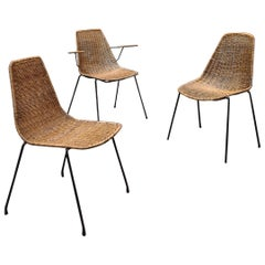 Italian Midcentury Wicker Chairs with Metal Rod by Campo & Graffi, 1950s