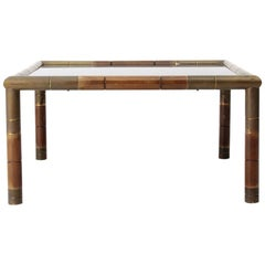 Italian Midcentury Wood and Brass Coffee Table, 1970s