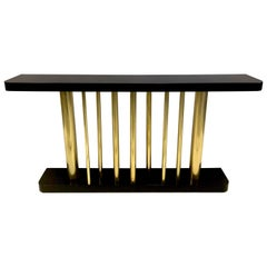 Italian Midcentury Modern Wood & Brass Console / Sofa Table,  Franco Albini