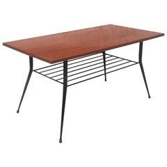 Italian Midcentury Wood and Steel Coffee Table with Magazine Rack, 1960s