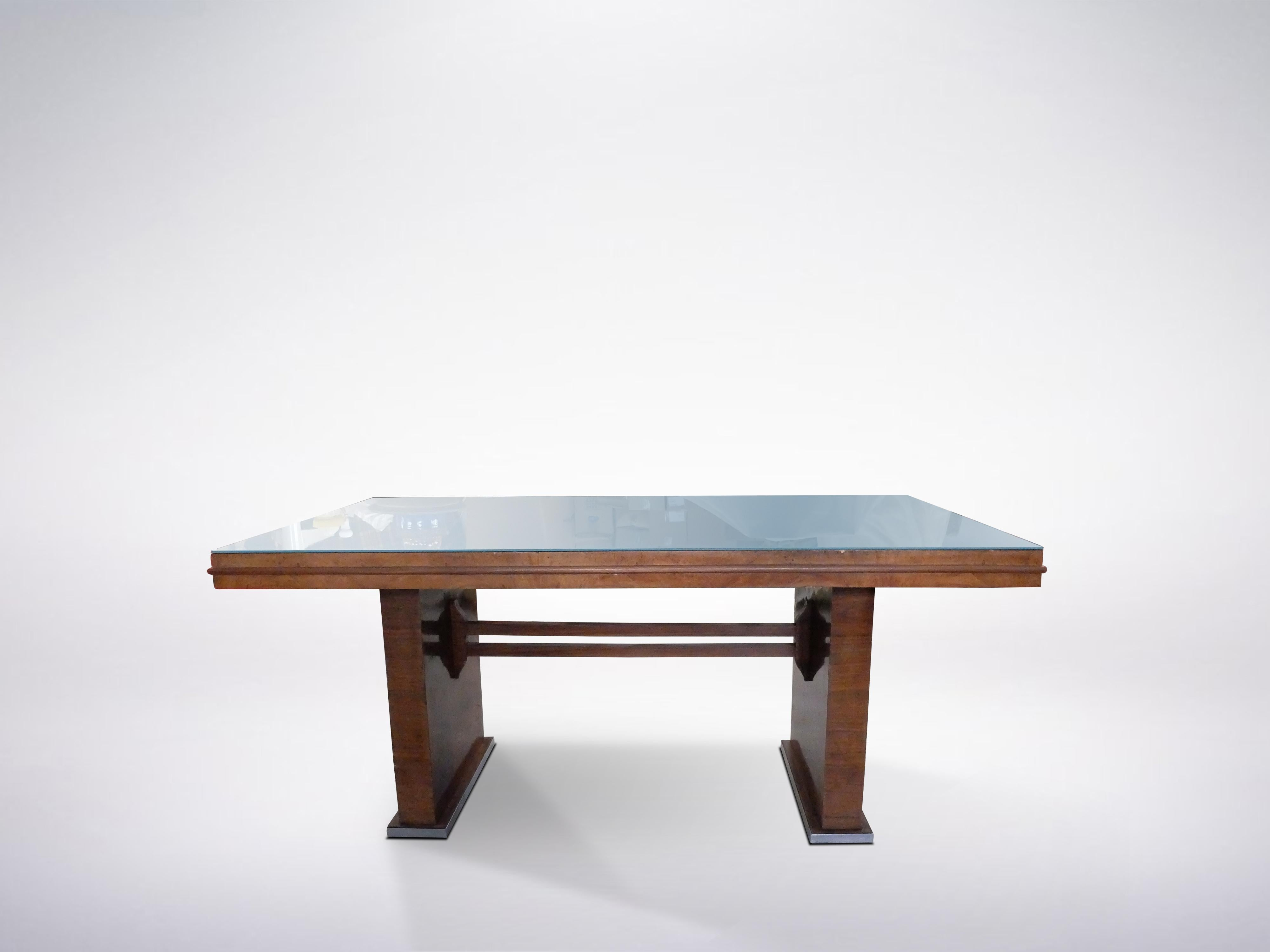 Italian Mid Century Wooden Desk With Blue Gl Table Top