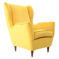 Italian Midcentury Yellow Velvet Armchair, 1950s
