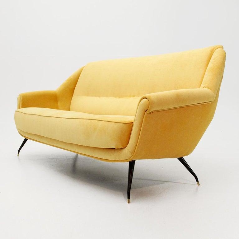Italian Mid-Century Yellow Velvet Sofa, 1950s at 1stdibs