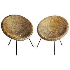 Italian Midcentury 1960s Eggs Cane Chairs