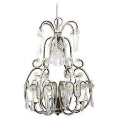 Italian Midcentury 1960s Small Beaded Chandelier