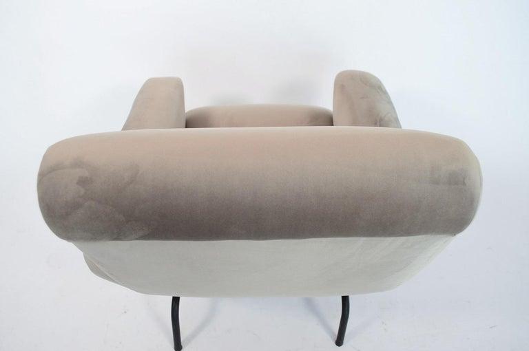 Italian Midcentury Armchair in Grey Soft Velvet by Rossi di Albizzate, 1960s 6
