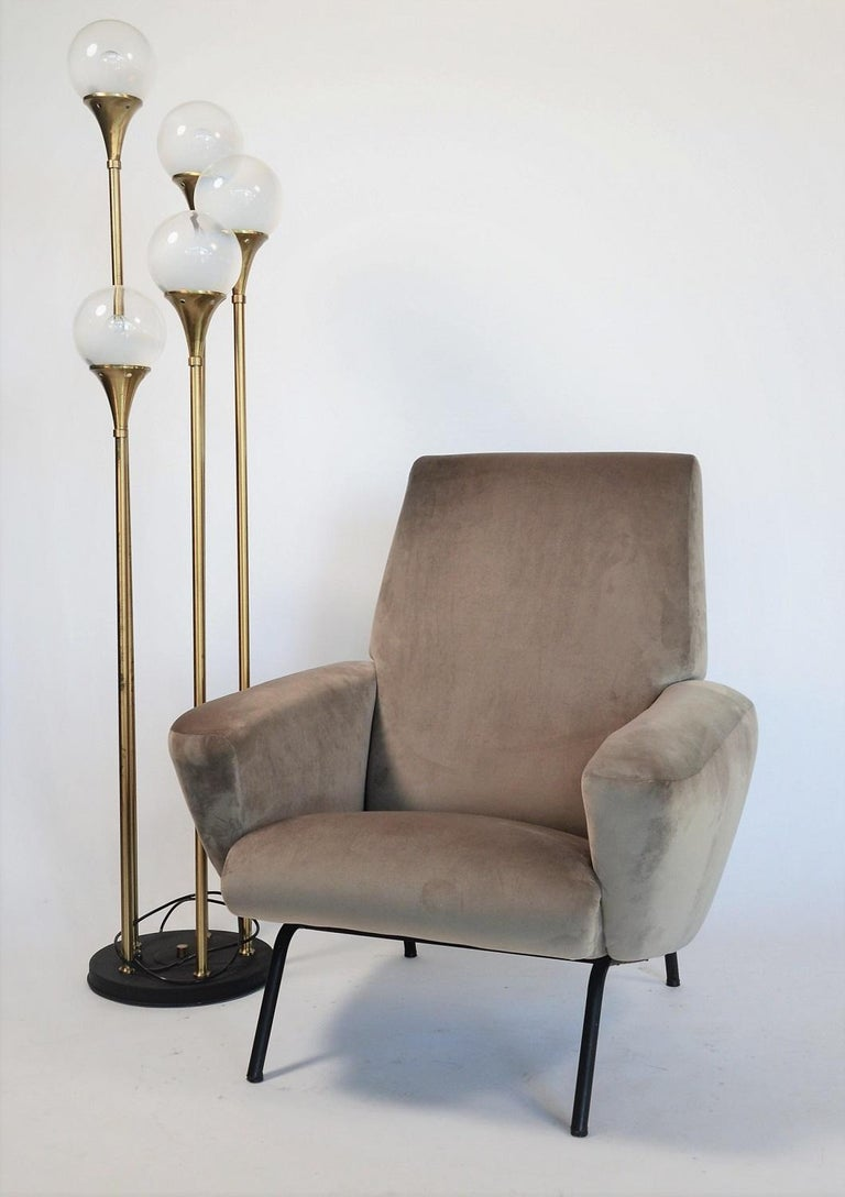 Mid-Century Modern Italian Midcentury Armchair in Grey Soft Velvet by Rossi di Albizzate, 1960s