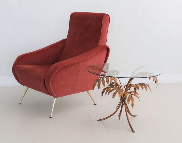Italian Midcentury Armchair in Lobster Color Velvet and Brass Legs, 1950s For Sale 5