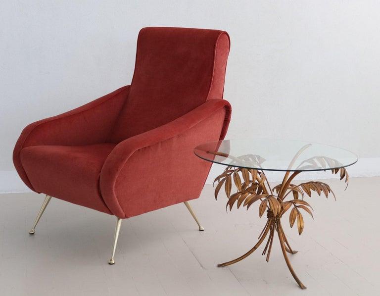 Italian Midcentury Armchair in Lobster Color Velvet and Brass Legs, 1950s For Sale 1