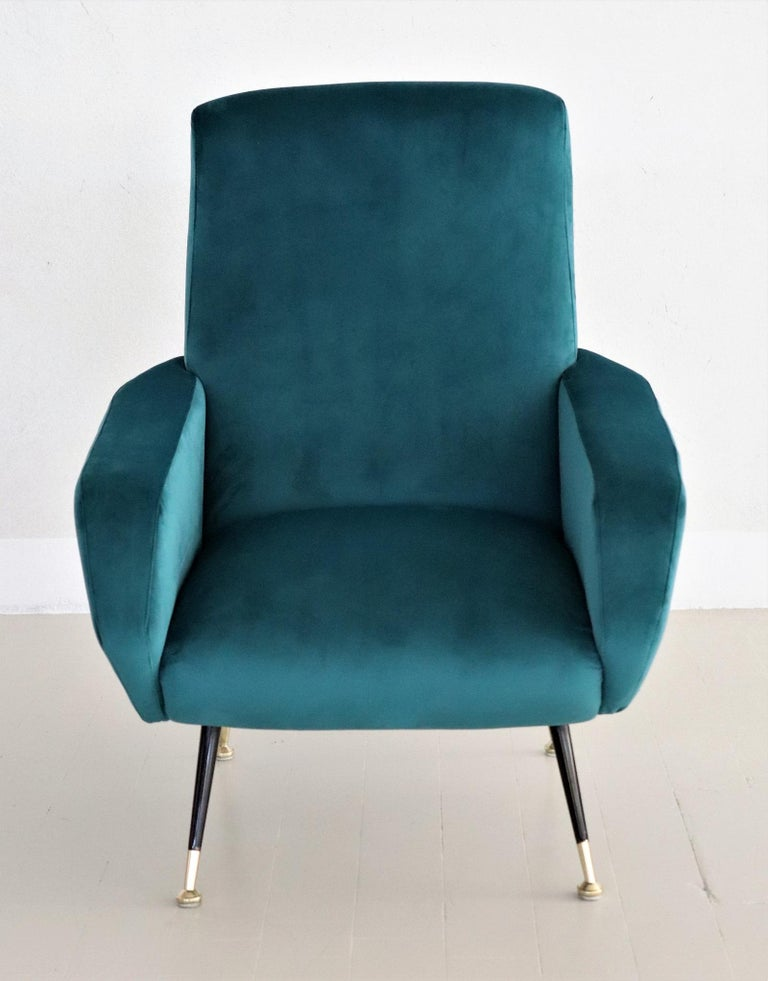 Polished Italian Midcentury Armchair in Petrol Velvet and Brass Feet, 1950s For Sale