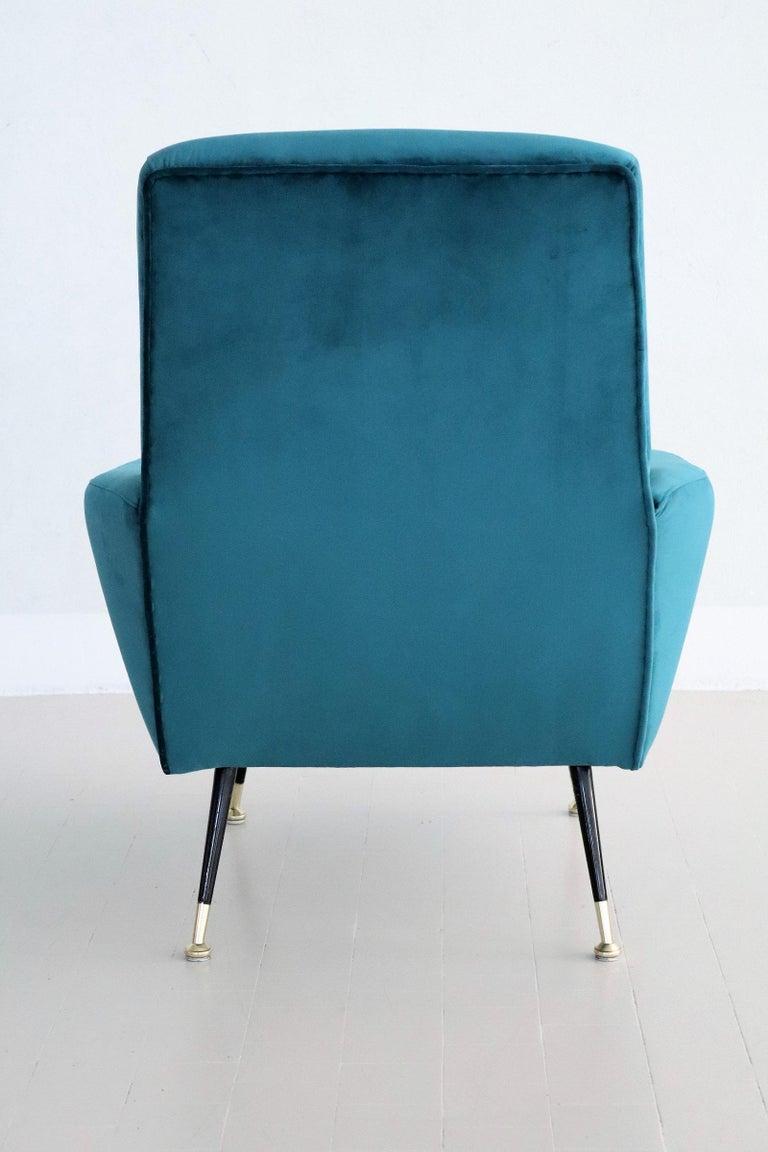 Mid-20th Century Italian Midcentury Armchair in Petrol Velvet and Brass Feet, 1950s For Sale