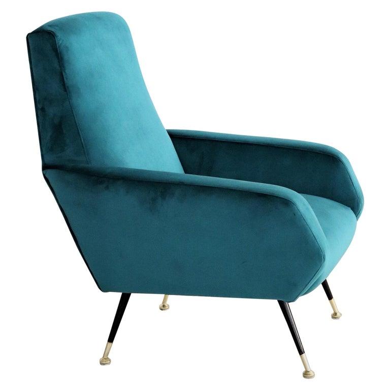 Italian Midcentury Armchair in Petrol Velvet and Brass Feet, 1950s For Sale