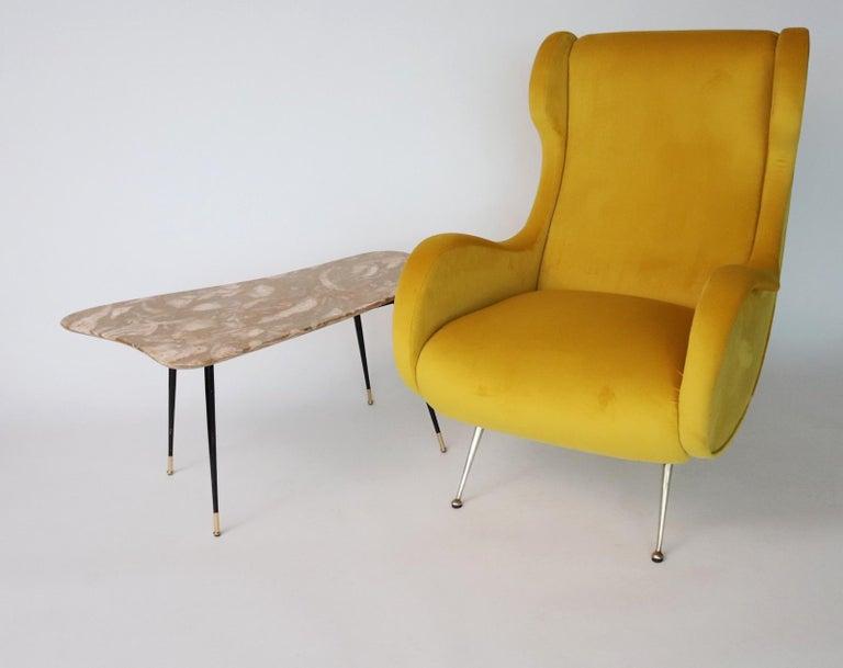 Italian Midcentury Armchair in Sunny Yellow Velvet and Brass Feet, 1950s For Sale 13