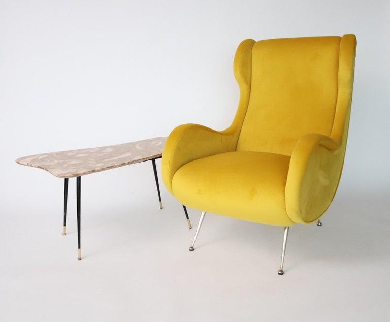 Mid-Century Modern Italian Midcentury Armchair in Sunny Yellow Velvet and Brass Feet, 1950s For Sale