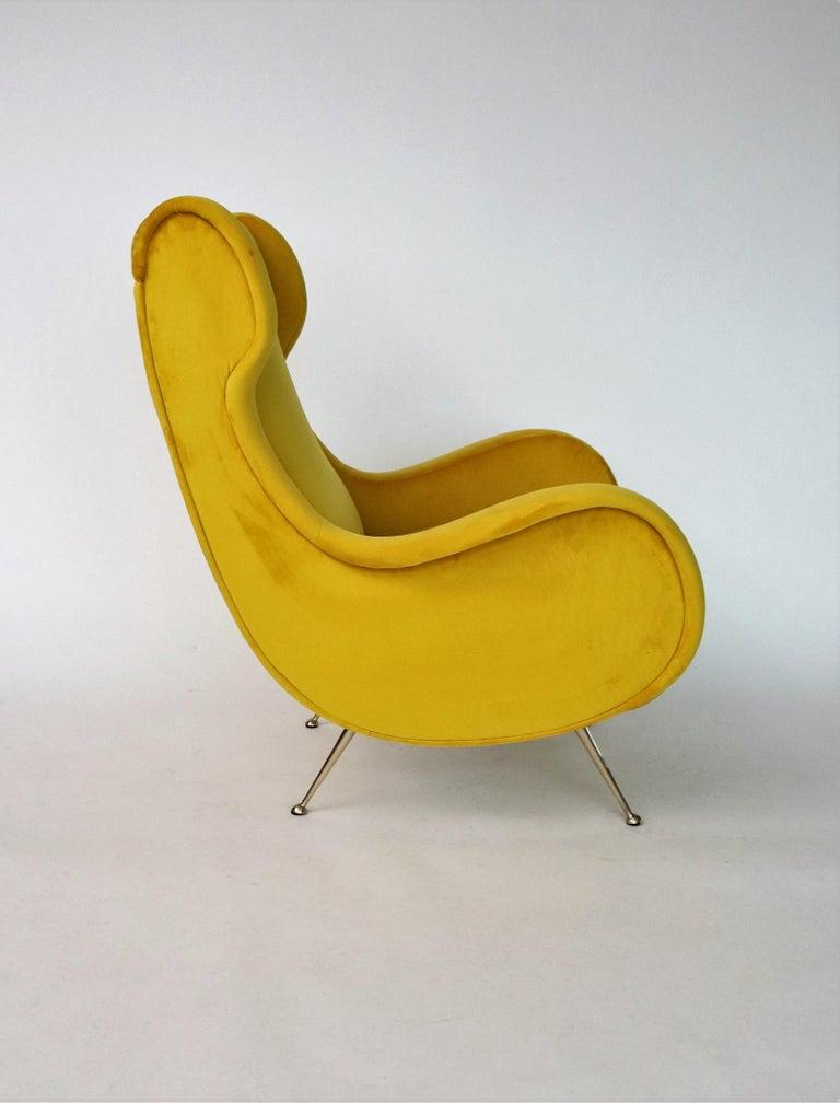 Mid-20th Century Italian Midcentury Armchair in Sunny Yellow Velvet and Brass Feet, 1950s For Sale