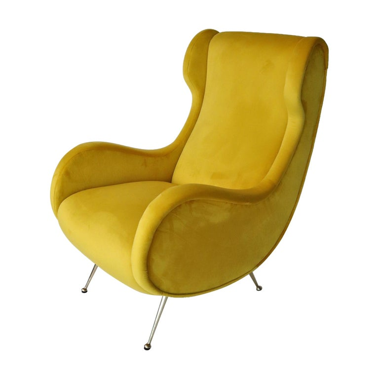 Italian Midcentury Armchair in Sunny Yellow Velvet and Brass Feet, 1950s For Sale