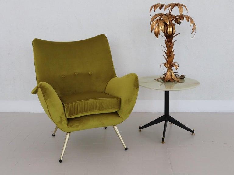 Italian Midcentury Armchair in Velvet and Brass, 1950s For Sale 10