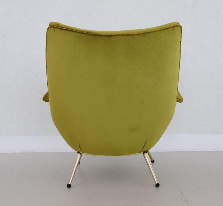 Italian Midcentury Armchair in Velvet and Brass, 1950s For Sale 11