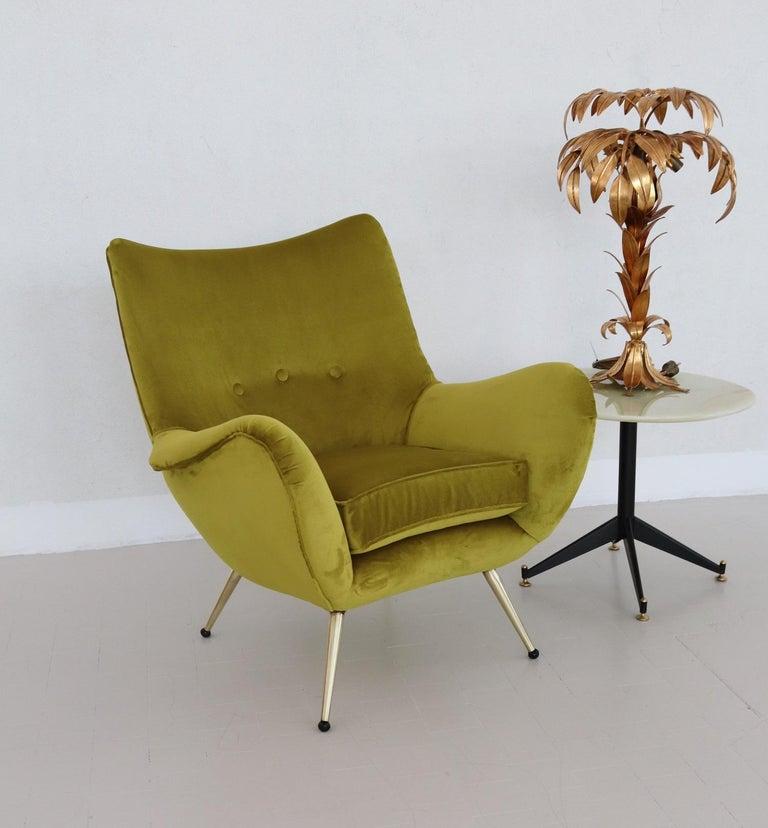 Mid-Century Modern Italian Midcentury Armchair in Velvet and Brass, 1950s For Sale