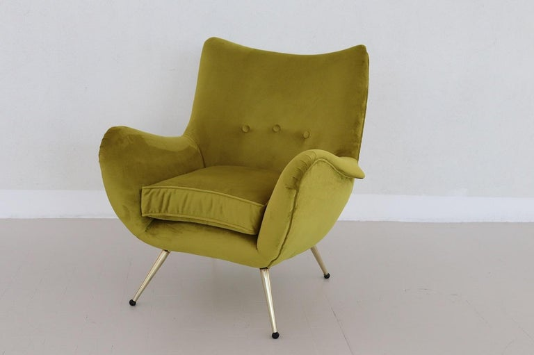 Polished Italian Midcentury Armchair in Velvet and Brass, 1950s For Sale