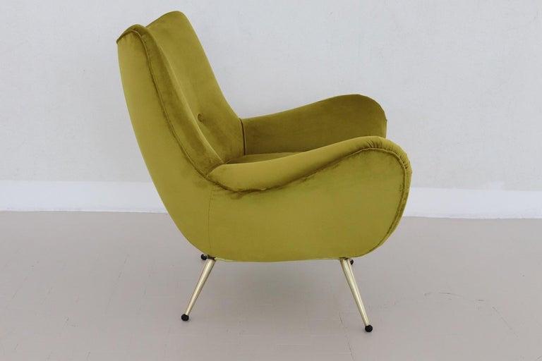 Mid-20th Century Italian Midcentury Armchair in Velvet and Brass, 1950s For Sale