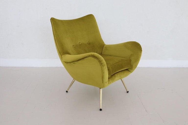Italian Midcentury Armchair in Velvet and Brass, 1950s For Sale 1