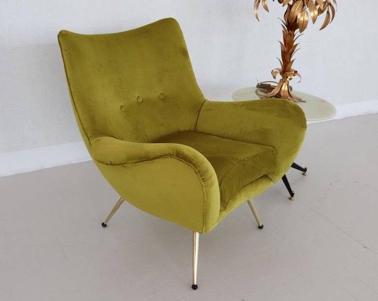 Italian Midcentury Armchair in Velvet and Brass, 1950s For Sale 2