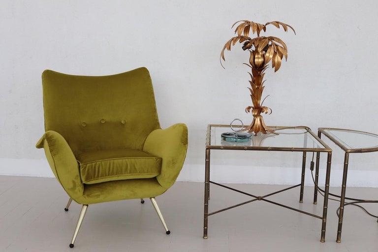 Italian Midcentury Armchair in Velvet and Brass, 1950s For Sale 3