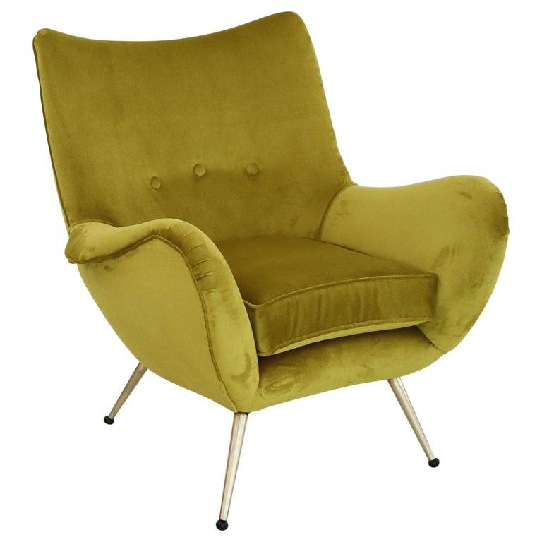 Italian Midcentury Armchair in Velvet and Brass, 1950s For Sale