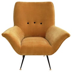 Italian Midcentury Armchair in Velvet and Brass, 1950s