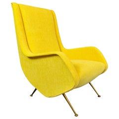 Italian Midcentury Armchair, New Upholstery
