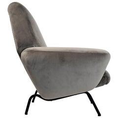 Italian Midcentury Armchair Re-upholstered in Grey Soft Velvet, 1950s