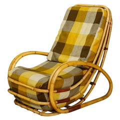 Italian Midcentury Armchairs in Bamboo and Fabric Plaid, 1950s